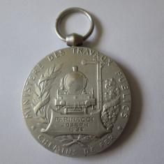 FRANTA:MEDALIA ONOARE CALEA FERATA A REPUBLICII FRANCEZE 1930-ARGINTATA/ARGINT
