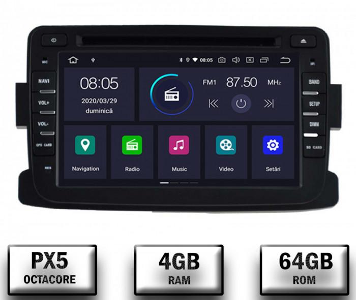 NAVIGATIE Dacia Renault, ANDROID 10, Octacore PX5 4GB RAM + 64GB ROM cu DVD, 7 Inch - AD-BGWDACIA7P5