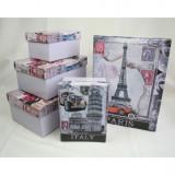 Set 6 cutii depozitare Paris, Italy, New York