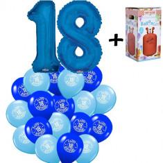 "Pachet majorat baloane ""18"", 2 folii albastre+30 latex+1 butelie heliu-2018122"