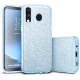 Cumpara ieftin Husa Samsung Galaxy A40 2019 Albastru Color Silicon TPU Carcasa Sclipici
