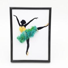 Cumpara ieftin Tablou cu licheni naturali stabilizati Nordic Zen, Turquoise ballerina, 13x18 cm
