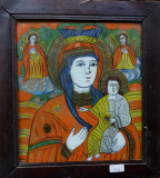 ICOANA PE STICLA, MAICA DOMNULUI CU PRUNCUL, TARA BARSEI, CCA. 1900