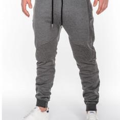 Pantaloni pentru barbati gri inchis fermoare decorative banda jos cu siret bumbac p466