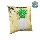 Perna decorativa cu paiete, model ananas, 40x40x12 cm, 100% poliester