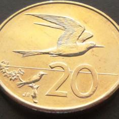 Moneda 20 CENTI - i-le COOK / OCEANIA, anul 2015   *cod 2755  UNC