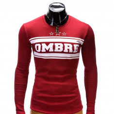 Bluza pentru barbati, rosu, cu logo in piept slim fit - B335