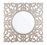 Oglinda decorativa perete cu rama lemn alb vintage Dalila 90 cm x 1.8 cm x 90 h Elegant DecoLux, Bizzotto