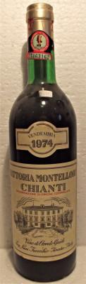 A 44- VIN CHIANTI FATTORIA MONTELLORI, DOC, RECOLTARE 1974, CL 73 GR 12,5 foto
