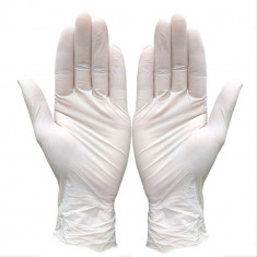 Cutie 100x Manusi Latex, de Unica Folosinta, Texturate, Usor Pudrate, Albe