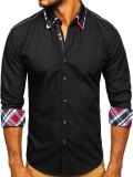 Cămașă elegantă cu mâneca lungă pentru bărbat neagră Bolf 3701