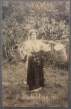 Femeie in port, cu cobilita// Baile Telega 1911, foto tip CP