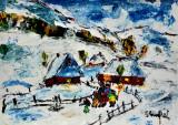 """Colindatori la Chesler"" Tablou semnat, Peisaje, Ulei, Impresionism"