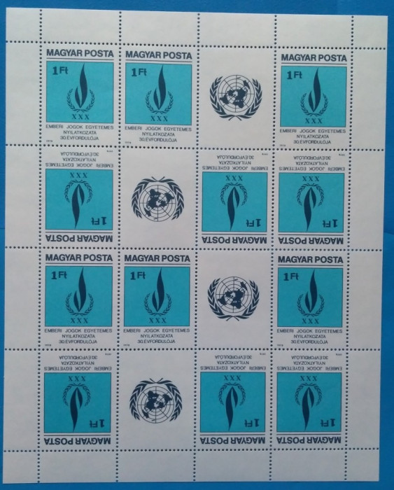 UNGARIA -1979-Drepturi  pt.Om-Coala -12 val+6vinete -MNH  (Mi3334A=75e) RARR