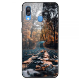Husa Fusion Pattern Printing Glass+TPU+PC Phone Case Samsung A20e – Forest Road