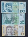 Serbia 100 dinari 2003 20 dinari 2011 10 dinari 2011
