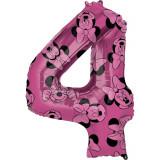 Cumpara ieftin Balon Folie Figurina Minnie Mouse Forever Cifra 4 roz- 66 cm, Amscan 40139, 1 buc