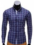 Camasa pentru barbati, bleumarin, in carouri, slim fit, casual, elastica, cu guler - k327, S, Maneca lunga