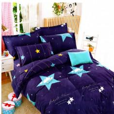 Lenjerie de pat din Bumbac albastra si cu stele bleu HX 36