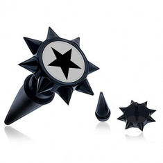 Taper negru fals de ureche cu țepi și o stea neagră