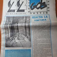 """ziarul  """"22 """" din 15 iunie 1990-interviu petre tutea"""