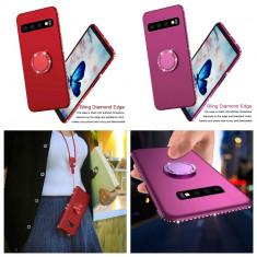Husa cu pietricele si inel metalic pentru Samsung Galaxy S10, S10+ , S10 plus