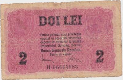 ROMANIA 2 LEI 1917 BGR UZATA CU STAMPILA foto