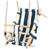 Leagan pentru copii, Strend Pro Fumiko Blue, maxim 70 Kg, sfoara, lemn si bumbac