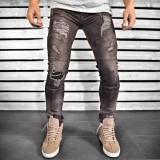 Blugi pentru barbati, negri, slim fit, conici, casual, skinny, model decorativ genunchi - 0063, 30, Negru, Lungi
