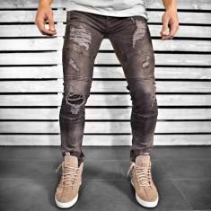 Blugi pentru barbati, negri, slim fit, conici, casual, skinny, model decorativ genunchi - 0063