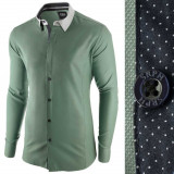 Camasa pentru barbati, verde, slim fit, casual - A La Fontaine, L, M, S, XL, XXL, Maneca lunga