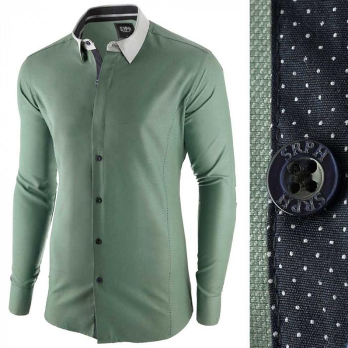 Camasa pentru barbati, verde, slim fit, casual - A La Fontaine