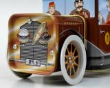 Cutie de tabla cu reclama, Heinrich Haeberlein, masinuta cu music box incorporat