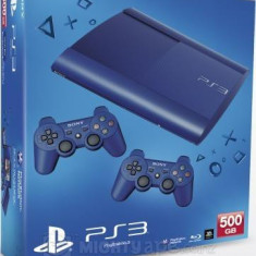 Consola PlayStation 3 Ultra Slim 500 GB Blue + 2 controllere SH