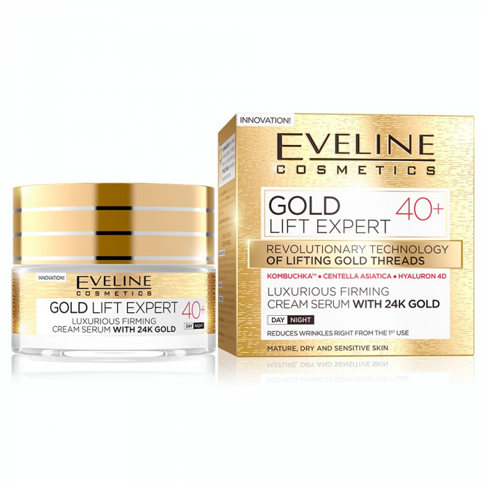 Crema luxurianta de intinerire Eveline Cosmetics Gold Lift Expert cu aur de 24K 40+ 50 ML