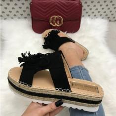 Papuci dama negri cu platforma marime 39, 40+CADOU, Din imagine