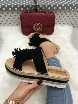 Papuci dama negri cu platforma marime 39, 40+CADOU foto