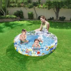 Piscina gonflabila copii, 152x30 cm, 3 inele, capacitate 282 litri, design vesel