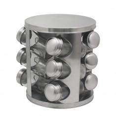 Suport pentru condimente ZEPHYR ZP 1217 CR12, 12buc, 3 nivele, Pivotant, Argintiu