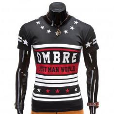 Tricou pentru barbati, negru, imprimeu piept, mulat, slim fit - z416