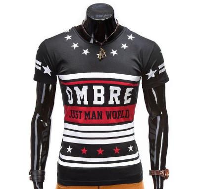 Tricou pentru barbati, negru, imprimeu piept, mulat, slim fit - z416 foto