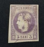 Romania 1868 Carol I cu favoriti, 3 bani cu punct in 3, varietate. Stare  buna!, Nestampilat