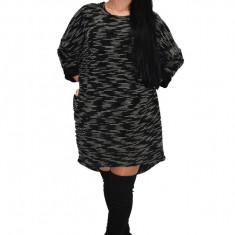 Rochie tricotata cu maneca lunga, culoare gri inchis