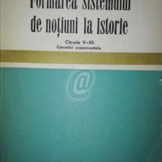 Formarea sistemul de notiuni la istorie. Clasele V-VII, cercetari experimentale