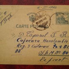 1942-C.P.circ.pe front CENZURAT PLOIESTI-timbru Cetatea Alba Basarabia-RARA