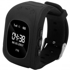 Ceas Smartwatch copii GPS Tracker iUni Q50, Telefon incorporat, Apel SOS, Negru