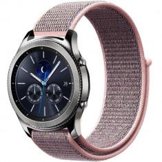 Curea ceas Smartwatch Samsung Gear S3, iUni 22 mm Soft Nylon Sport, Soft Pink