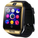 Ceas smartwatch Q18, suport SIM, 1.54-inch, Bluetooth, Camera foto, Metalic, Gold