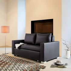 Canapea extensibila din piele sintetica Latina XIV 170cm, negru