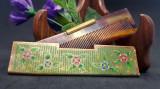 Pieptene vechi de poseta cu toc din alama pictata